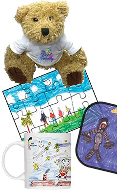 Personalised bear, mug and jigsaw